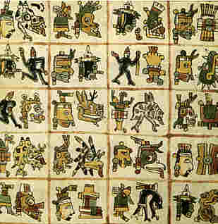 Table of symbols for the ancient Mayan glyphs