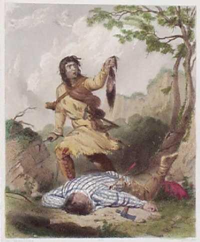 1847 death whoop by seth eastman hand colored steel engraving of